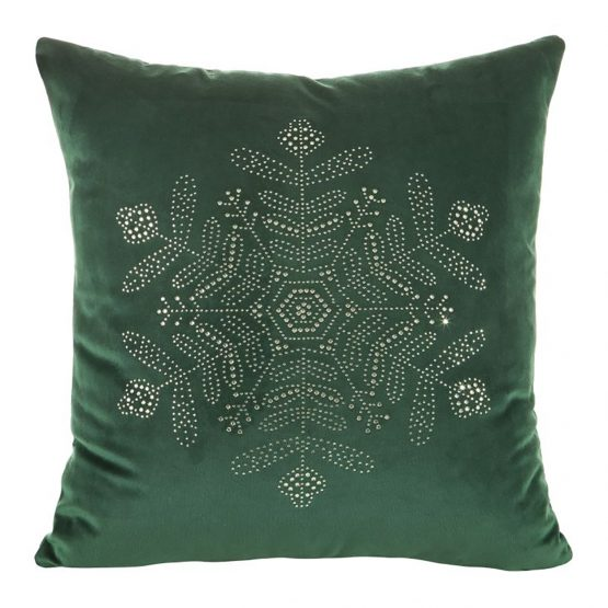 Green velvet snowflake cushion cover