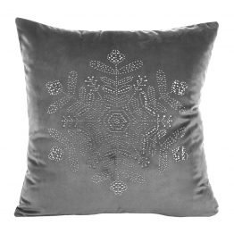 Silver velvet snowflake cushion cover