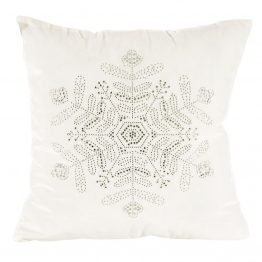 White velvet Christmas cushion cover with snowflake