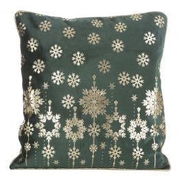 green and gold christmas cushion cover
