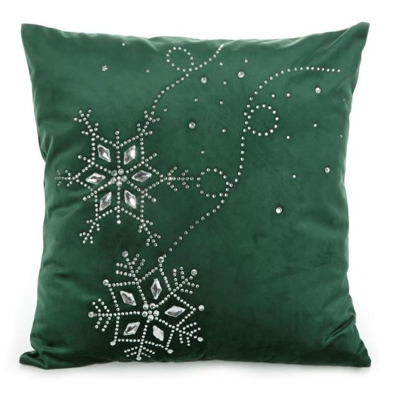 green velvet christmas cushion cover with snowflakes