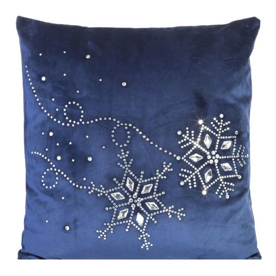 navy velvet cushion cover with snowflakes