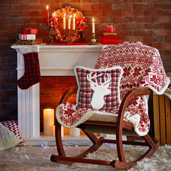 red Christmas cushion cover