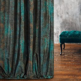 black and turquoise velvet curtains