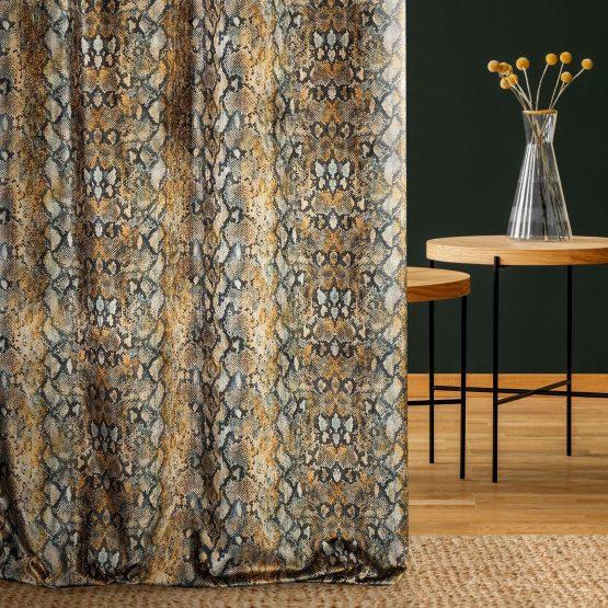 Animal print velvet curtains