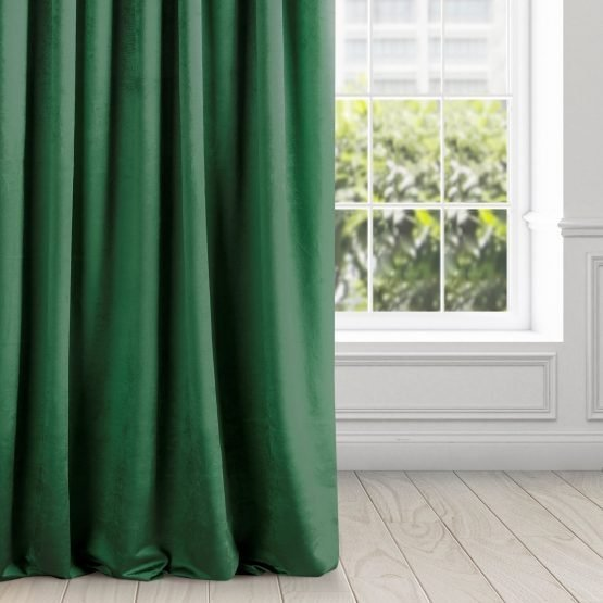 velvet dark green curtains