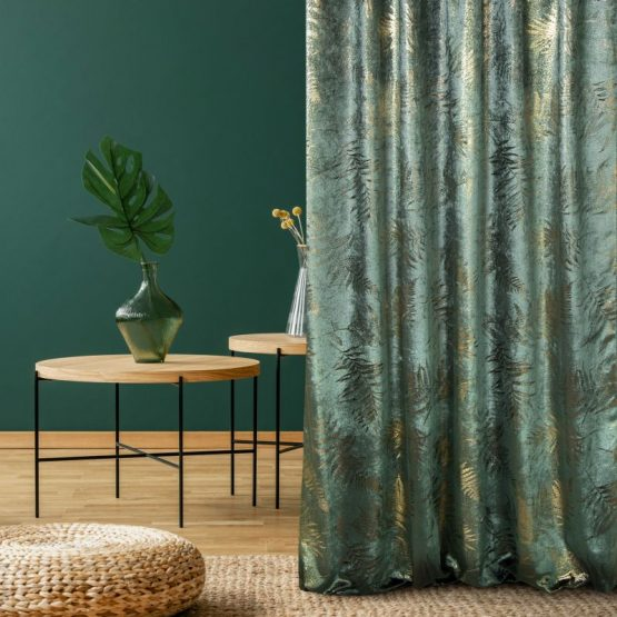 Velvet green curtains with shiny print