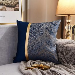 navy and gold cushion