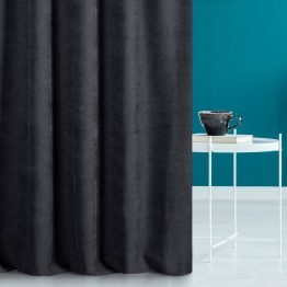 black plain curtains