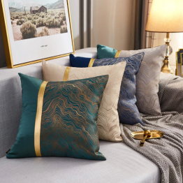 Navy and gold cushion cover