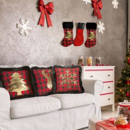 black and red christmas cushion