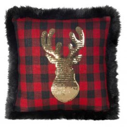 Black & red cushion with stag