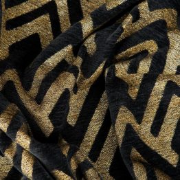 Black and gold chenille curtains