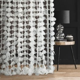 white laser cut sheer curtain