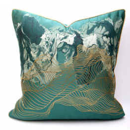 Green and gold cushion cover
