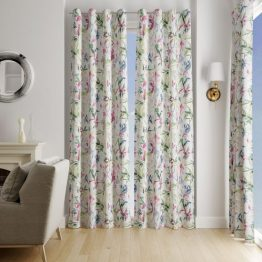 white curtains with floral design