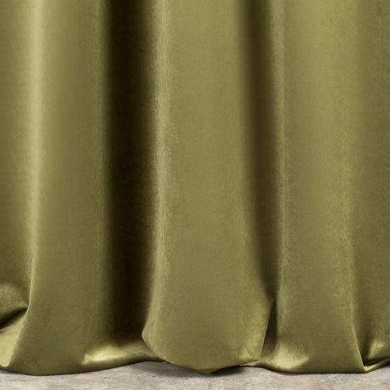 Dark olive green plain velvet curtains