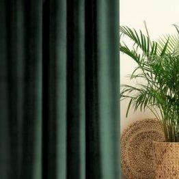 Forest green plain velvet curtains