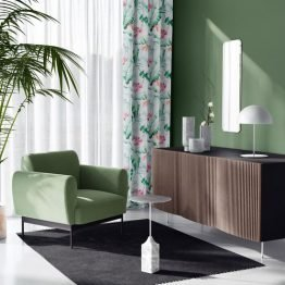 White curtains with exotic flowers design for living room, bedroom