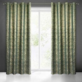 Green and gold velvet curtains