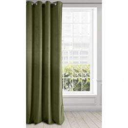 Soft olive green velvet curtains
