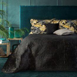 Black and gold velvet quilted bedspread