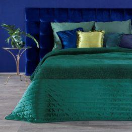 Dark green velvet bedspread with silver thread