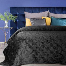 Black velvet quilted bedspread with art deco design