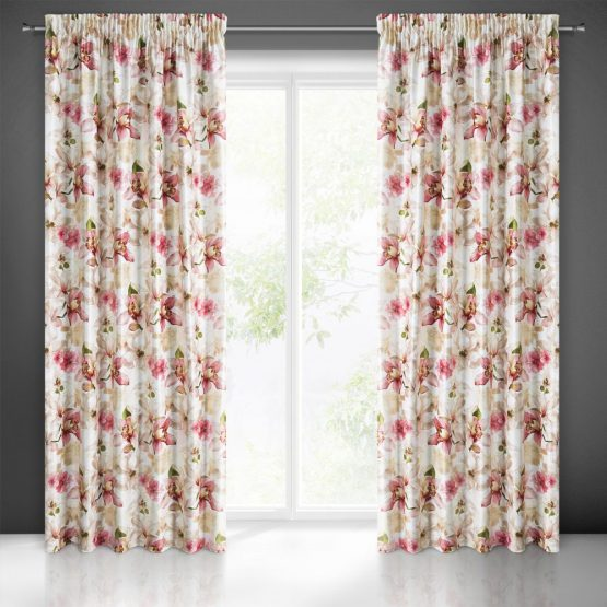 Beige pencil pleat curtains with pink orchid print