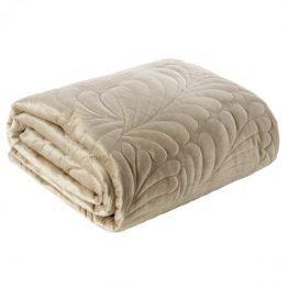 Beige velvet bedspread with leaf design