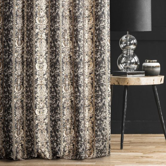 Black and gold curtains with ornamental design