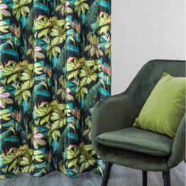 Black and green velvet curtains