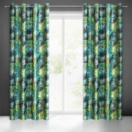 Black and green velvet eyelets curtains with gold print