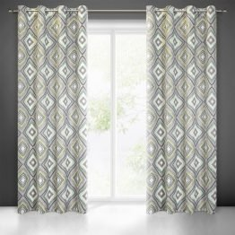 Grey blackout boho curtains with geometrical design