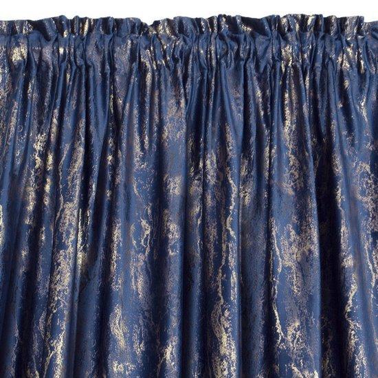 Navy pencil pleat velvet curtains with gold print 140x270cm