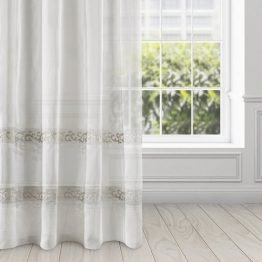 White boho eyelets curtains with embroidery