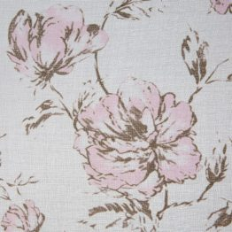 White sheer curtains with pink flowers