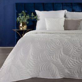 White velvet bedspread with leaf design, quilted bedspread.