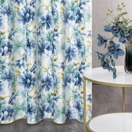 Cream velvet curtains with blue flowers