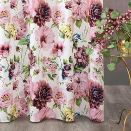 White velvet curtains with pink flowers
