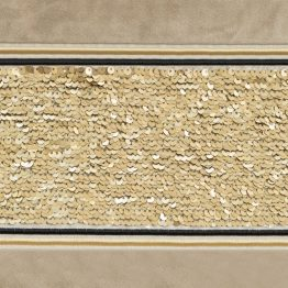 Beige eyelets velvet curtains with gold sequin panel