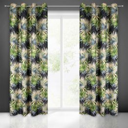 Black and green blackout curtains