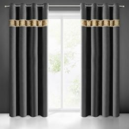 Black eyelets velvet curtains with gold sequin panel