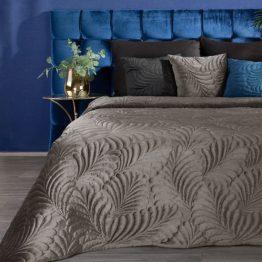Brown velvet bedspread with leaf design
