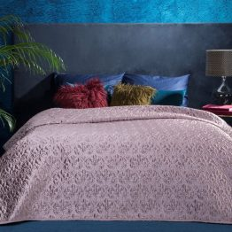 Pink velvet comforter. Pink quilted throw.