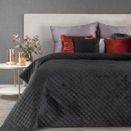 Black velvet quilted bedspread
