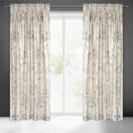 Cream pencil pleat velvet curtains with gold print 140x270cm