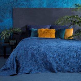 Blue quilted velvet bedspread 220x240cm