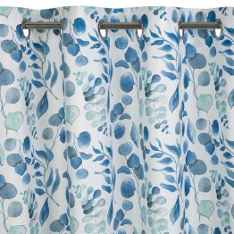 White curtains with blue leaves print