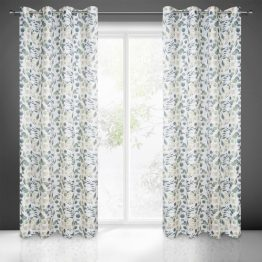 white curtains with floral print